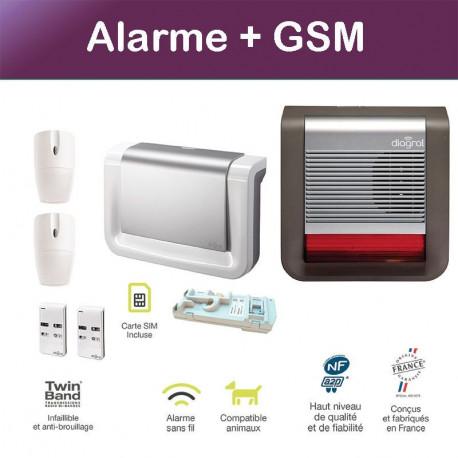pack alarme diagral avec sir ne ext rieure et transmetteur gsm. Black Bedroom Furniture Sets. Home Design Ideas