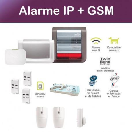 pack alarme connect diagral avec sir ne ext rieure et transmetteur gsm. Black Bedroom Furniture Sets. Home Design Ideas